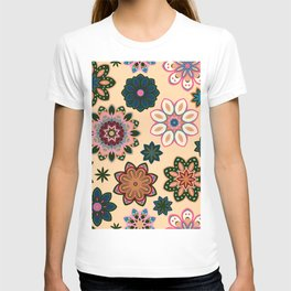 Flower retro pattern. Green pink flowers on beige background. T-shirt
