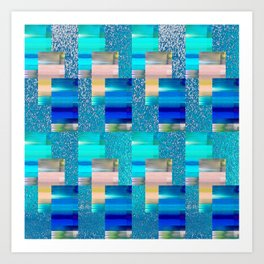 Geometric Glitter Rectangle Dimension in Cool Hues Art Print