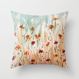 Tiger Lilies, Coneflowers, & Those Blue Things Throw Pillow