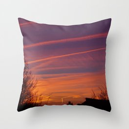 Neon Chemtrails Throw Pillow