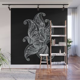 Black and white paisley Wall Mural