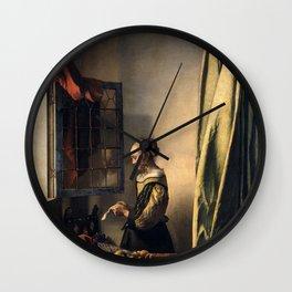 "Johannes Vermeer ""Girl Reading a Letter at an Open Window"" Wall Clock"