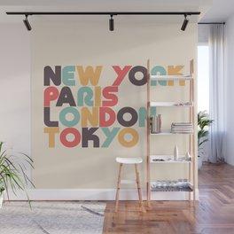 Retro New York Paris London Tokyo Typography Wall Mural