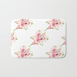 Seamless pattern with watercolor flowers on white background. Bath Mat