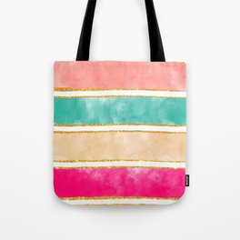 Modern Stripes Pink Red Watercolor Gold Glitter Tote Bag