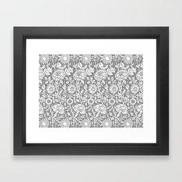 "William Morris Floral Pattern   ""Pink and Rose"" in Grey and White   Vintage Flower Patterns   Framed Art Print"