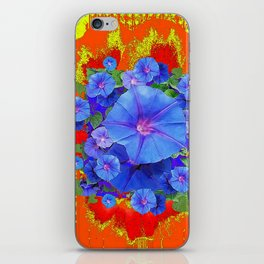 BLUE MORNING GLORIES YELLOW-ORANGE  PATTERN iPhone Skin