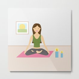 Yoga Girl In Lotus Pose Cartoon Illustration Metal Print