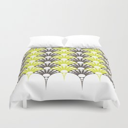 brown and lime art deco inspired fan pattern Duvet Cover