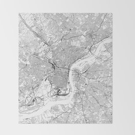 Philadelphia White Map Throw Blanket