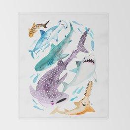 Help Stop Shark Finning - Watercolor Ocean Animals - Fish Throw Blanket