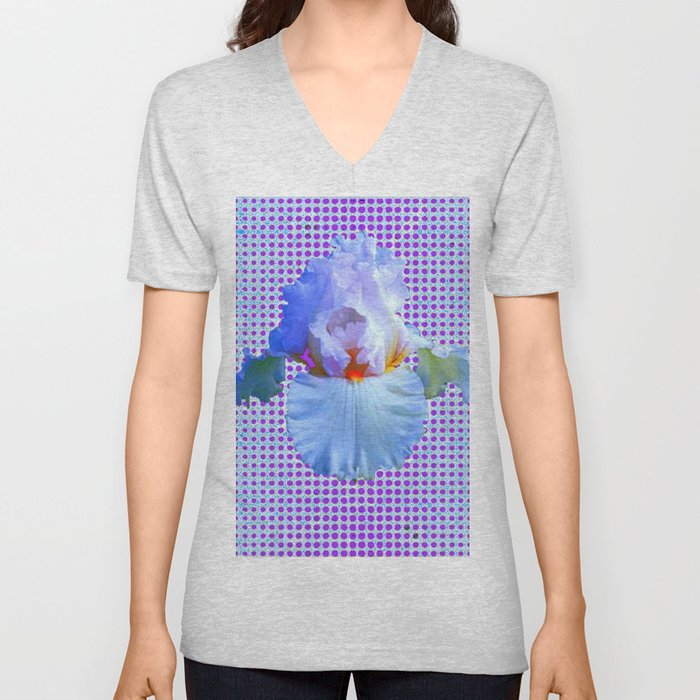 AWESOME BLUISH-WHITE PASTEL IRIS OPTICAL ART Unisex V-Neck