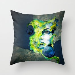 Esther Green (Set) by carographic watercolor portrait Throw Pillow