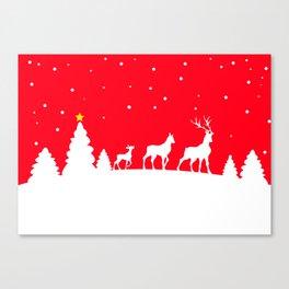 deer family in winter landscape Canvas Print