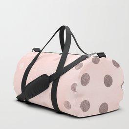 Rose Gold Pastel Pink Polka Dots Duffle Bag