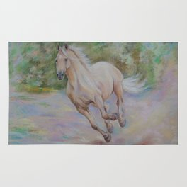 Palomino horse galloping Pastel drawing Horse portrait Equestrian decor Rug