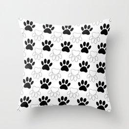 Black And White Dog Paw Print Pattern Throw Pillow