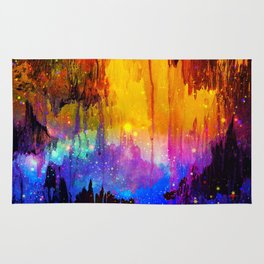 CASTLES IN THE MIST Magical Abstract Acrylic Painting Mixed Media Fantasy Cosmic Colorful Galaxy  Rug