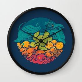 Aquatic Rainbow Wall Clock
