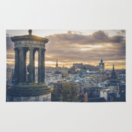 Edinburgh city and castle from Calton hill and Stewart monument Rug