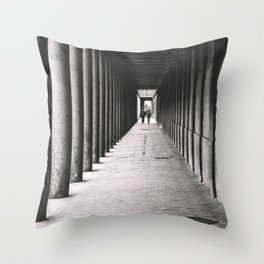 Arcade with columns in Copenhagen, architecture black and white photography Throw Pillow