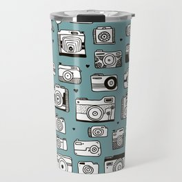 Smile action toy camera vintage photography pattern Travel Mug