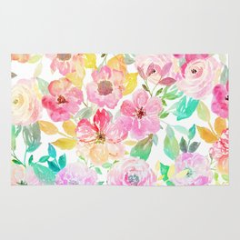 Classy watercolor hand paint floral design Rug