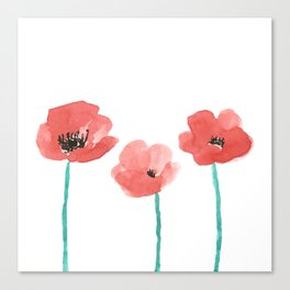 Three Poppies \\ Watercolor Flowers Canvas Print