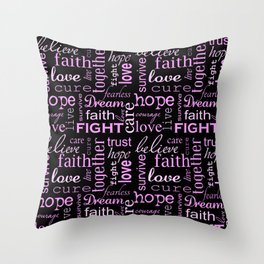 Breast Cancer - Black Throw Pillow