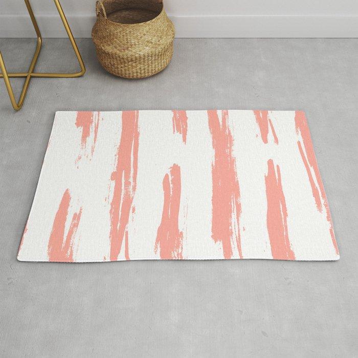 Pretty Pink Brush Stripes Horizontal Rug