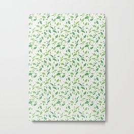 Tea Leaves Pattern Metal Print