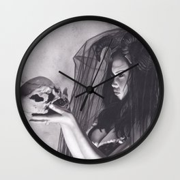 Realism Charcoal Drawing of Sexy Dark Queen in Veil with Skull Wall Clock