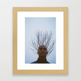Hairless guy and the tree behind him Framed Art Print
