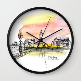 London, Big Ben. Watercolor and ink. Wall Clock
