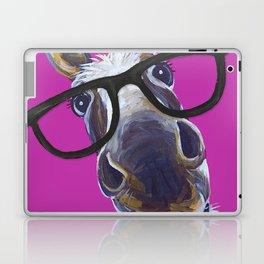 Up Close Donkey Art, Donkey with Glasses Art Laptop & iPad Skin