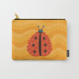 Orange Ladybug Autumn Leaf Carry-All Pouch