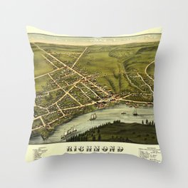 Aerial View of Richmond, Maine (1878) Throw Pillow
