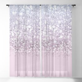 Sparkly Unicorn Pink Glitter Ombre Sheer Curtain