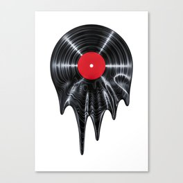 Melting vinyl / 3D render of vinyl record melting Canvas Print