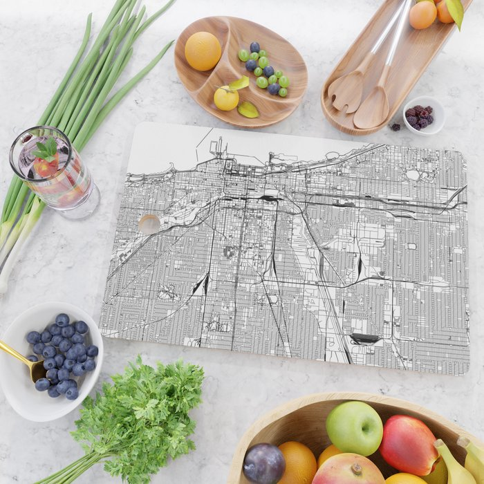 Chicago White Map Cutting Board