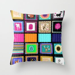 Woodland Bohemian Quilt Poster, Forest Animals, Woodland Creatures Throw Pillow