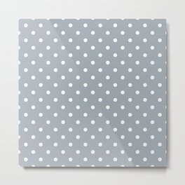 Grey Mist Background with White Polka Dots Metal Print