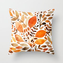 Autumn watercolor leaves Throw Pillow