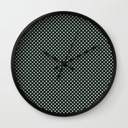 Black and Grayed Jade Polka Dots Wall Clock