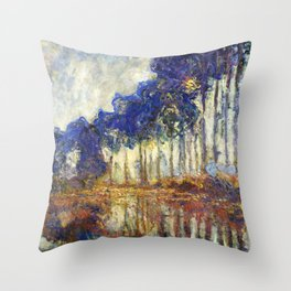 Poplars on the Bank of the Epte River by Claude Monet Throw Pillow