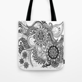 Freeform Black and White Ink Drawing Tote Bag