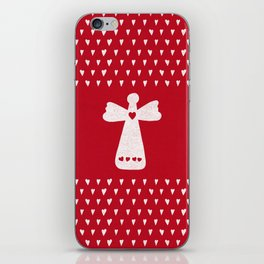 Christmas Angel with hearts on red iPhone Skin