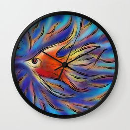 Poloniussa - red angelfish Wall Clock