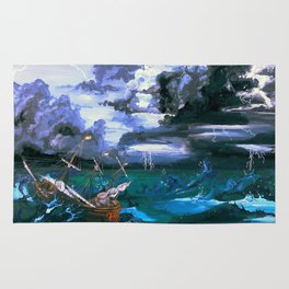 Ship in Storm Rug