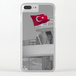 Boat with turkish flag Clear iPhone Case